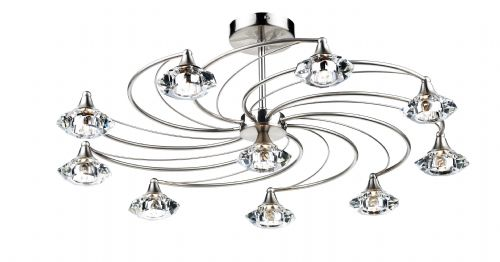 Dar Luther 10 Light Semi Flush complete with Crystal Glass Satin Chrome LUT2346